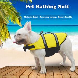 Pet Dog Safety Vest Jacket Reflective Stripe Summer Swimming Bathing Rescue Suit
