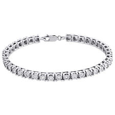 "1 Row Genuine Diamond Tennis Bracelet Miracle Set 925 Sterling Silver 7"" | 1 CT."