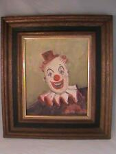 Clown Oil Painting By Frances Clark Brown Framed Nashville Indiana LOOK!