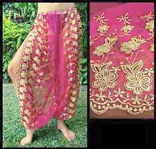 Harem Pants Belly Dance Fuchsia Pink w/ Gold Brocade Slit 7