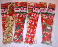 """Vintage CHRISTMAS WRAPPING PAPER 500 Sq Gift Wrap Lot 8 packs Ft 30"""" Wide Xmas"""