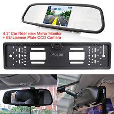 Car Rear View Kit 4.3 Inch Mirror Monitor + EU License Plate CCD Backup Camera