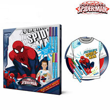 Maglietta Spiderman Colorabile e Disegnabile Con 5 Pennarelli 100% Cotone