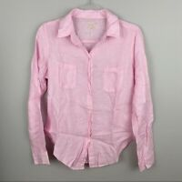 LILLY PULITZER Sea View Button Down Shirt Linen Pink SMALL NWOT H178