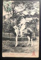 1914 Tonkin Vietnam Indochina Cochina RPPC Postcard Cover To Belgium Cavalry