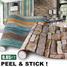 Vinyl Self Adhesive Stone Brick Wood Contact Paper Peel & Stick Wallpaper Decor