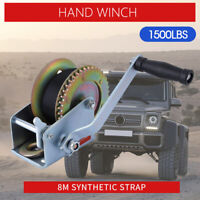 Hand Winch 1500lbs/680Kg 2-Gears 8m Synthetic Cable Boat Trailer 4WD Winch