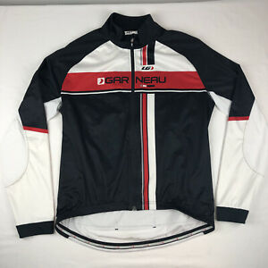 Louis Garneau Long Sleeve Cycling Jersey Black Red & White Full Zip Size XL