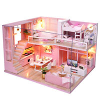 Diy Doll House Wooden Doll Houses Miniature Dollhouse Furniture Kit with Mu C9A9