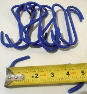 """S HOOK 10 PC. S HOOK  PVC COATED BLUE (5"""") INCH STEEL  PLANT S-HOOK"""