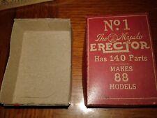 """A.C.Gilbert Erector Parts Box """"No. 1"""" The Mysto Erector 140 Parts 88 Models +"""