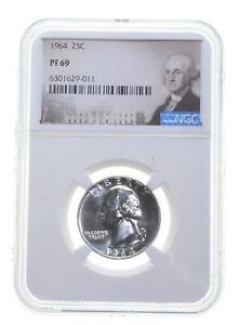 1964 PF69 Proof Washington Quarter NGC Graded - White Coin Spot Free PR *0120