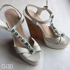 Womens Carvela Kurt Geiger White Heeled Sandal Wedges Size 6.5