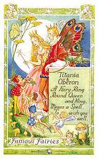 "Fairy Tale Postcard,""Titania & Oberon"",Elves,Pixies,Fairy Queen,Salmon,c.1940-50"