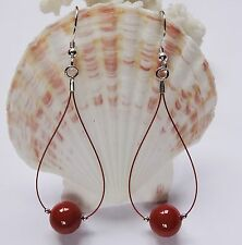 Perlen Muschelkernperlen ROT - Koralle Farbe Ohrringe Ohrhänger Silber 925