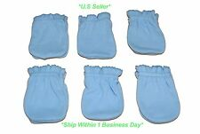 6 Pairs Cotton Newborn Baby/infant Boy Anti-scratch Mittens Gloves - Light Blue