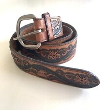 Vintage Wrangler Eagle Flower Stained Tooled Leather Brown Belt USA 38