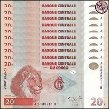 Congo - 20 Francs 1997 - Pick- 88 - Set 10 PSC - UNC