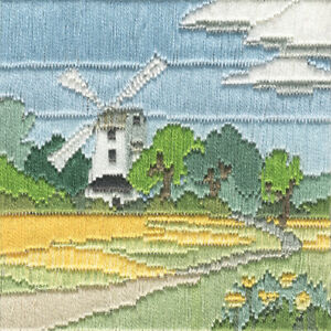 Windmill Long Stitch Picture Kit, 22ct Printed Canvas, Anchor Cotton, 11 x 11 cm