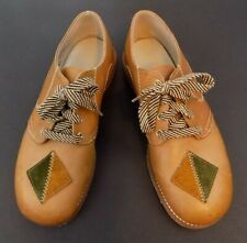 Children's Shoes ~ Size 2 1/2 EEE ~ Brown ~ Leather ~ Patch Design ~ Lace-Up~USA