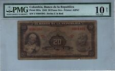 COLOMBIA NOTE BANCO DE LA REPUBLICA $20 ORO 1943 PICK# 392 a  PMG VG 10