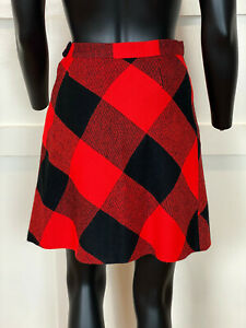 1970s Vintage Red and Black Plaid Micro Mini Skirt Size Small