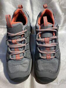 Keen Oak Ridge WP Women's New Steel Gray/Coral Color Leather Hiking Shoes Sz 7