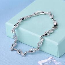 "Unique Wedding Chain White Gold Filled Diamond Cut White Topaz Bracelet 7.9"""