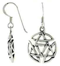 Jewish Star of David Circle Charm Dangle Hook Earrings .925 Sterling Silver