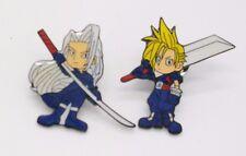 2 Final Fantasy Cloud & Sephiroth Metal Pin Badge Set ~Brand New~