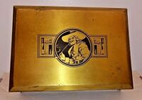 Antique Etched Cavalier Brass Humidor Tobacco Trinket Box Grammes Allentown