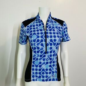 Terry S Cycling Jersey Top Vented Sides 1/2 Zip Womens Back Pockets Short Sleeve