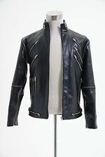 "Michael Jackson ""Beat It"" Black Pleather Jacket Coat Cosplay Costume"