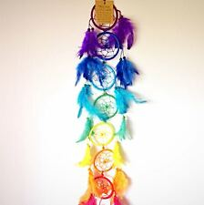 Fair Trade Beautiful 7 Chakra Coloured Dreamcatcher Handmade with Feathers