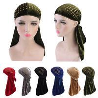 Unisex Men Women Velvet Bandana Pirate Hat Turban Cap Doo Durag Headwear Scarf