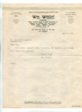 Illustrated Letterhead WM WRIGHT RIDING CLOTHES Saddles Horse Medfield MA 1937