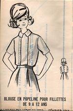 ▬► PATRON Couture Modes et Travaux - Blouse fillette 9 à 12 ans Février 1964