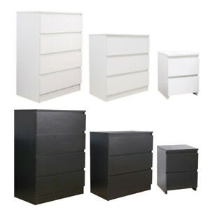 Modern Bedside Table Cabinet Chest of Drawers Nightstand 2/3/4 Drawers Bedroom