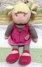 Carters just one year blonde hair pink green stripe dress yellow heart baby doll