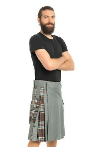 Gray Hybrid Utility Kilt by Scottish Kilt   Made To Measure