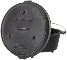 Deluxe Preseasoned Cast Iron 14 in. Dutch Oven Built In Thermometer Notch New