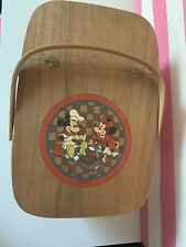 Vintage Disney Mickey Mouse And Minnie Picnic Basket And Checker Board