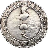 Novelty Fantasy Coin 1878 CC Morgan Dollar With Skull Zombie Head 1878cc