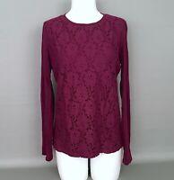TALBOTS Size Medium Eggplant Purple Cotton Knit Lace Front Top Long Sleeve Shirt