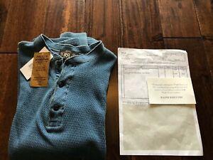 Ralph Lauren RRL Mens Waffle Knit Henley - Indigo Washed Blue / Small / £145