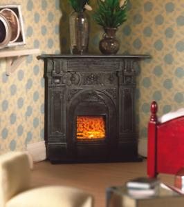 1/12 Scale Dolls House Emporium Victorian Black Corner Fireplace Cast Iron 5953