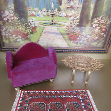 Antique Victorian Velvet Gold Chair Table Dollhouse Miniature or Jewelry Display