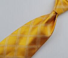 "Paul Stuart Men's Tie Fine Patterned Silk Hand Sewn UK 60"" Yellow"