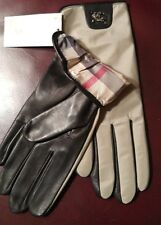 BURBERRY Beige Gloves With LOGO Leather Palm  Silk Lined Sz 7.5 NWT @GREAT GIFT@