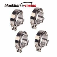 4Pcs 3''/ 76mm stainless V-band bolt clamp+flange turbo pipe wastegate exhaust